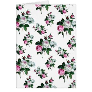 ヴィンテージのぼろぼろのシックな、ピンク、白いバラパターン カード