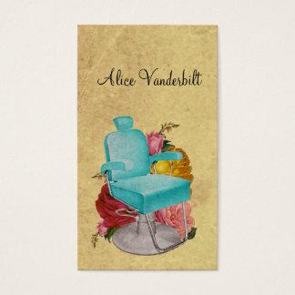 ヴィンテージのぼろぼろのバラのサロンの椅子の美容師カード 名刺
