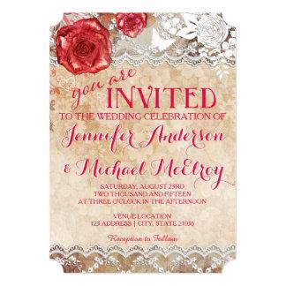 ヴィンテージのぼろぼろの上品のばら色の結婚式招待状 カード