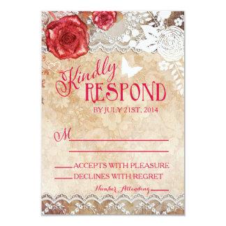 ヴィンテージのぼろぼろの上品ばら色の結婚RSVP カード
