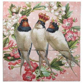 ヴィンテージのぼろぼろの鳥および花 ナプキンクロス