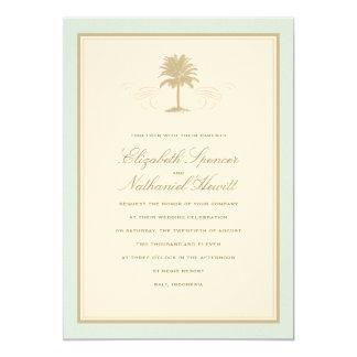 ヴィンテージのやし結婚式招待状の青及びオレンジ カード