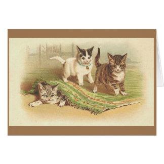 ヴィンテージのよくはしゃぐな子ネコのメッセージカード カード