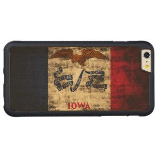 ヴィンテージのアイオワのグランジな州の旗 CarvedメープルiPhone 6 PLUSバンパーケース
