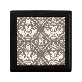 ヴィンテージのアイボリーの暗灰色のダマスク織のスタイリッシュなパターン ギフトボックス