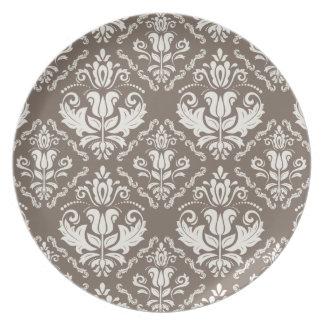 ヴィンテージのアイボリーの暗灰色のダマスク織のスタイリッシュなパターン プレート