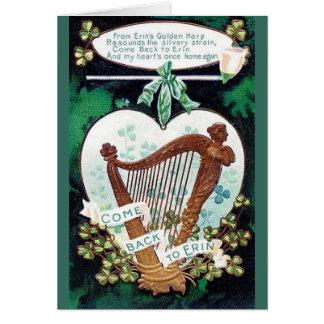 ヴィンテージのアイルランドのハープのセントパトリックの日カード カード