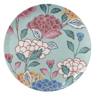 ヴィンテージのアジア花の絵画の青いプレート プレート