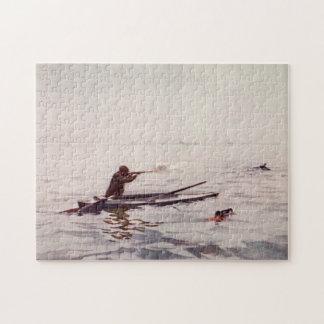 ヴィンテージのアヒルのハンターの海のカヤックのライフルのジグソーパズル ジグソーパズル