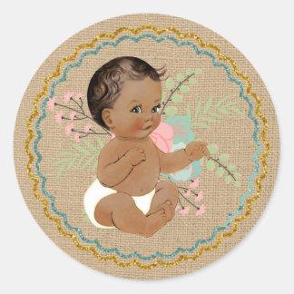 ヴィンテージのアフリカ系アメリカ人の赤ん坊のステッカー ラウンドシール