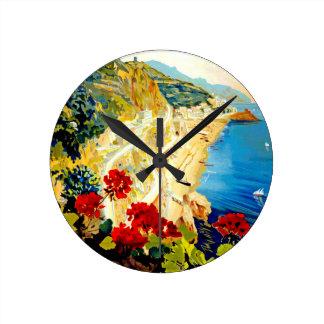 ヴィンテージのアマルフィイタリアヨーロッパ旅行 ラウンド壁時計