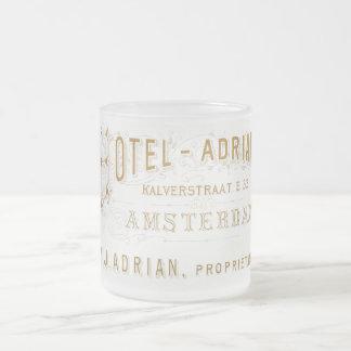 ヴィンテージのアムステルダムのホテルのエイドリアン広告 フロストグラスマグカップ