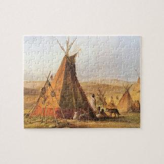 ヴィンテージのアメリカの西、Bodmer著平野のテント小屋 ジグソーパズル
