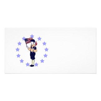 ヴィンテージのアメリカの7月4日の旗および花火 カード
