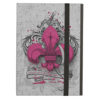 ヴィンテージのアヤメのショッキングピンクの金属のグランジな効果 iPad AIRケース