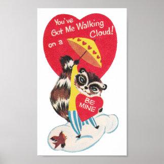 ヴィンテージのアライグマのバレンタイン ポスター