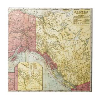 ヴィンテージのアラスカの地図 正方形タイル小