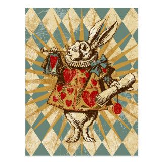ヴィンテージのアリスの白のウサギ ポストカード