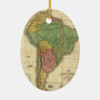 ヴィンテージのアンソニーFinley著1826年の南アメリカの地図 セラミックオーナメント