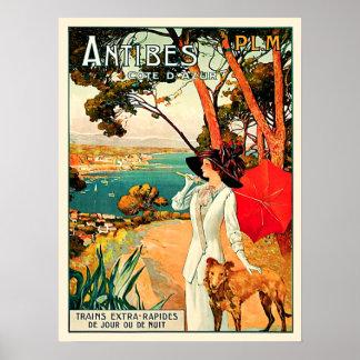 ヴィンテージのアンティーブCote d'Azur旅行 ポスター