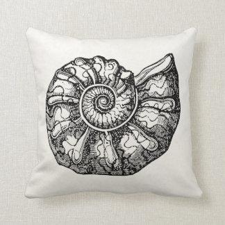 ヴィンテージのアンモナイトの貝殻の化石の貝のテンプレート クッション
