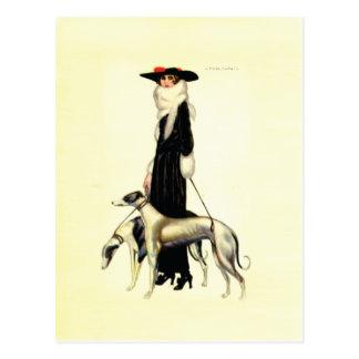 ヴィンテージのアールデコのファッション ポストカード