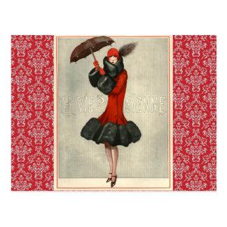 ヴィンテージのアールデコのフラッパーのフランス人のファッションの郵便はがき ポストカード