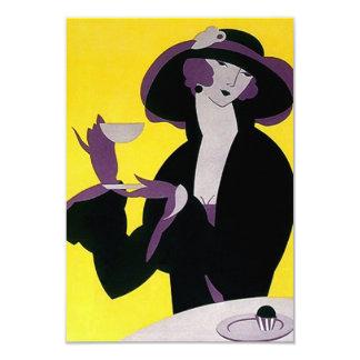 ヴィンテージのアールデコの茶招待状の高い午後 カード