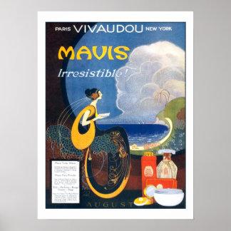 ヴィンテージのアールデコのMavisの香水の1920年の広告 ポスター