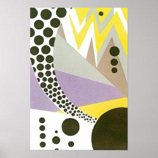 ヴィンテージのアールデコのPochoirジャズ幾何学的なパターン ポスター