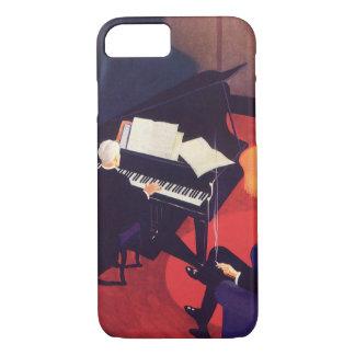 ヴィンテージのアールデコ音楽ピアニストのピアノ奏者のラウンジ iPhone 7ケース