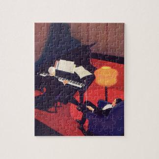 ヴィンテージのアールデコ音楽ラウンジのピアノ奏者のピアニスト ジグソーパズル