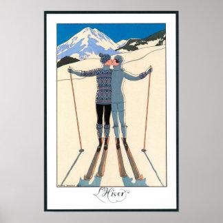 ヴィンテージのアールデコ、ジョージBarbier著雪の恋人 ポスター