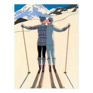 ヴィンテージのアールデコ、ジョージBarbier著雪の恋人 ポストカード