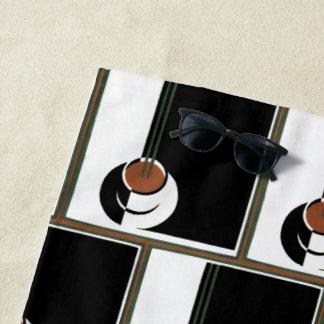 ヴィンテージのアールデコ、蒸気が付いているコーヒー ビーチタオル