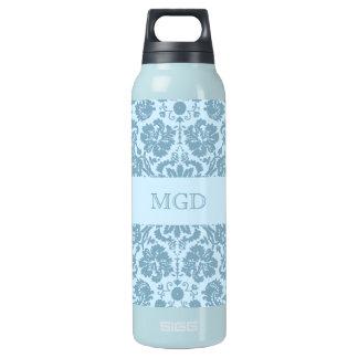 ヴィンテージのアールヌーボーのターコイズの花柄のモノグラム 断熱ウォーターボトル
