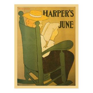 ヴィンテージのアールヌーボーのハープ奏者の雑誌6月 ポストカード