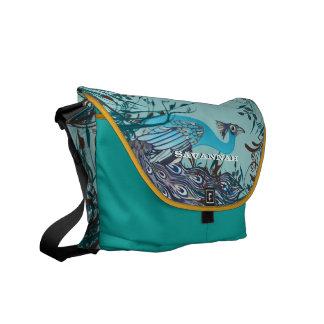 ヴィンテージのアールヌーボーの孔雀色を選びます メッセンジャーバッグ