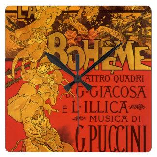 ヴィンテージのアールヌーボー音楽、LaのBohemeオペラ1896年 壁時計