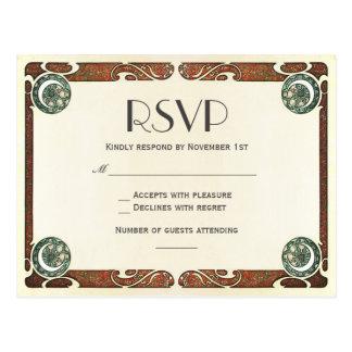 ヴィンテージのアールヌーボーRSVPの結婚式の郵便はがきI ポストカード