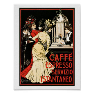 ヴィンテージのイタリアンでビクトリアンなコーヒーエスプレッソの広告 ポスター