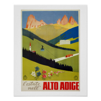 ヴィンテージのイタリアンなアルプス旅行ポスター(南チロル) ポスター