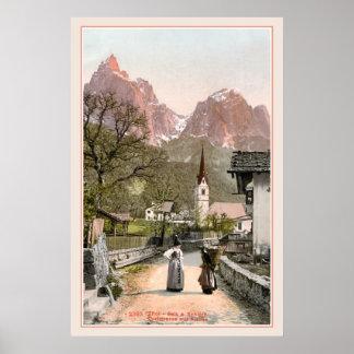 ヴィンテージのイタリアンなアルプス: 山村 ポスター