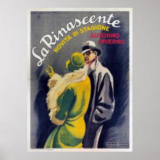 ヴィンテージのイタリアンなファッションのプリントが付いているポスター ポスター