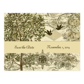 ヴィンテージのイタリアンな緑青の保存日付 ポストカード