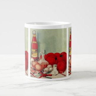 ヴィンテージのイタリアンな食糧トマトのタマネギのコショウのケチャップ ジャンボコーヒーマグカップ