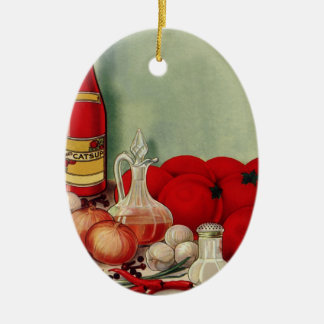ヴィンテージのイタリアンな食糧トマトのタマネギのコショウのケチャップ セラミックオーナメント