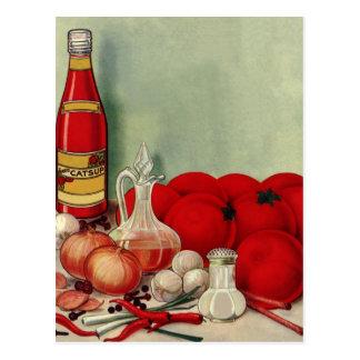 ヴィンテージのイタリアンな食糧トマトのタマネギのコショウのケチャップ ポストカード
