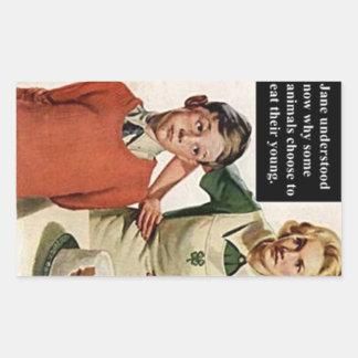 ヴィンテージのイメージの怒っているお母さんおよびケーキ 長方形シール