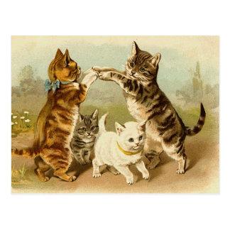 ヴィンテージのイラストレーションを遊んでいる猫 ポストカード